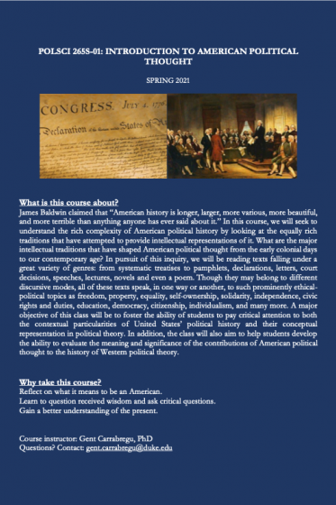 Intro to American Thought flyer